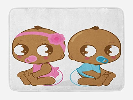 Amazon.com: Gender Reveal Bath Mat by Ambesonne, Cute African ...