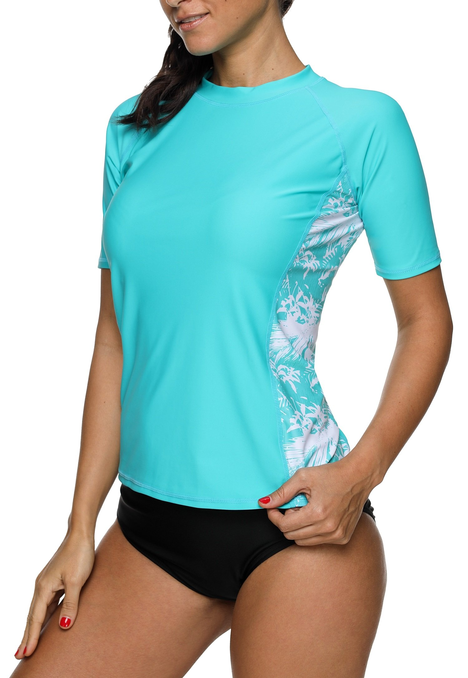 ATTRACO Woman Floral Rash Guard Swimwear Sporty Swim Shirt Aqua Large