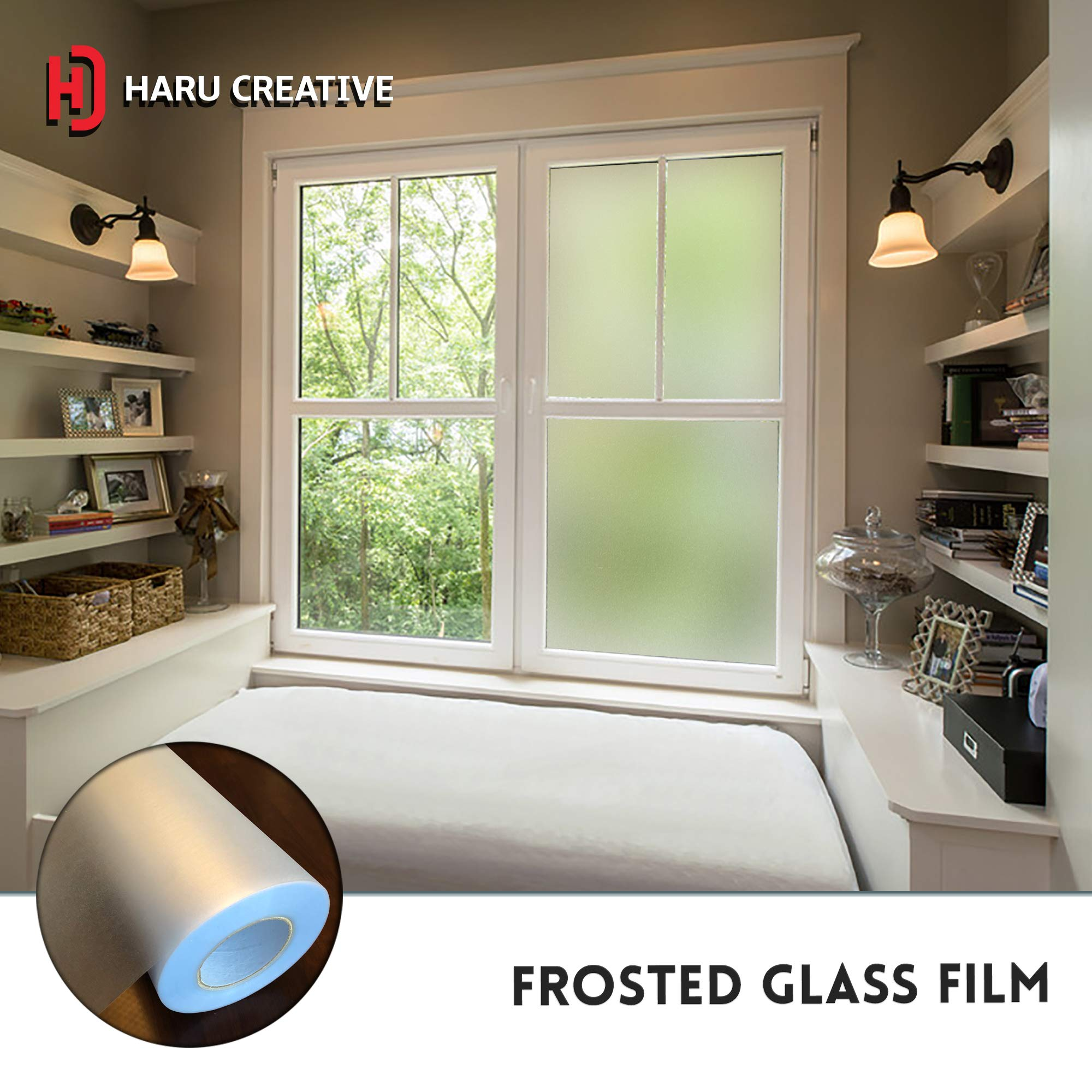 Haru Creative - Privacy Decorative Window Glass Frost Static Cling Adhesive Reusable Film Vinyl for Home Rooms Bathroom Work Space Office - Winter Frosted White Color (4FT x 8FT) by Haru