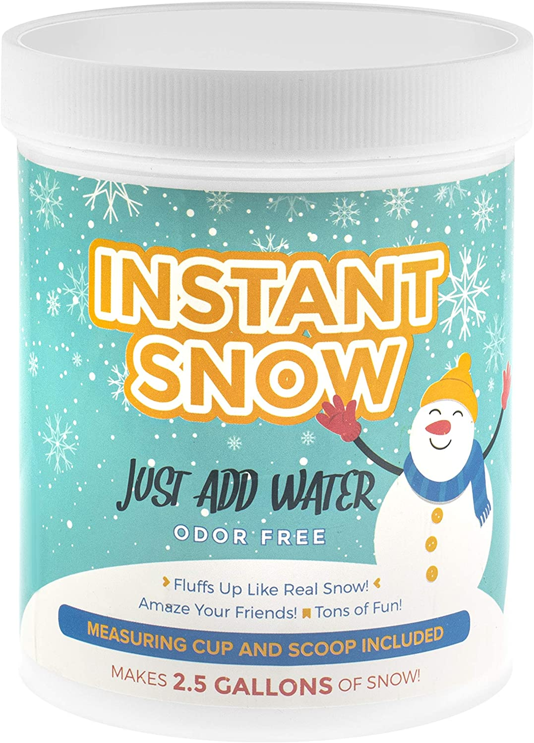 Playlearn Instant Snow Powder – Makes 2.5 Gallons – Insta Snow Powder Magic Fake Snow Party Decoration