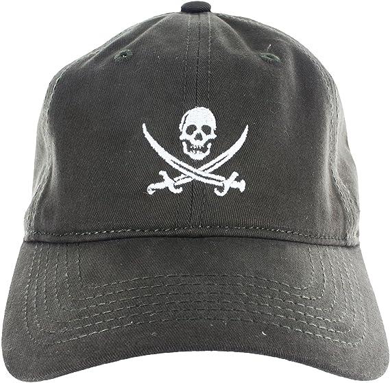 a092074a2fb8d Dad Hat Cap - Jolly Roger Embroidered Adjustable Dark Green Baseball ...