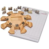 Yellow Mountain Imports Dominoes Accessory Set (Mexican Train Dominoes & Chicken Foot) - Everything Needed to Play Inside - Includes Wooden Hub Centerpiece and Metal Train Markers