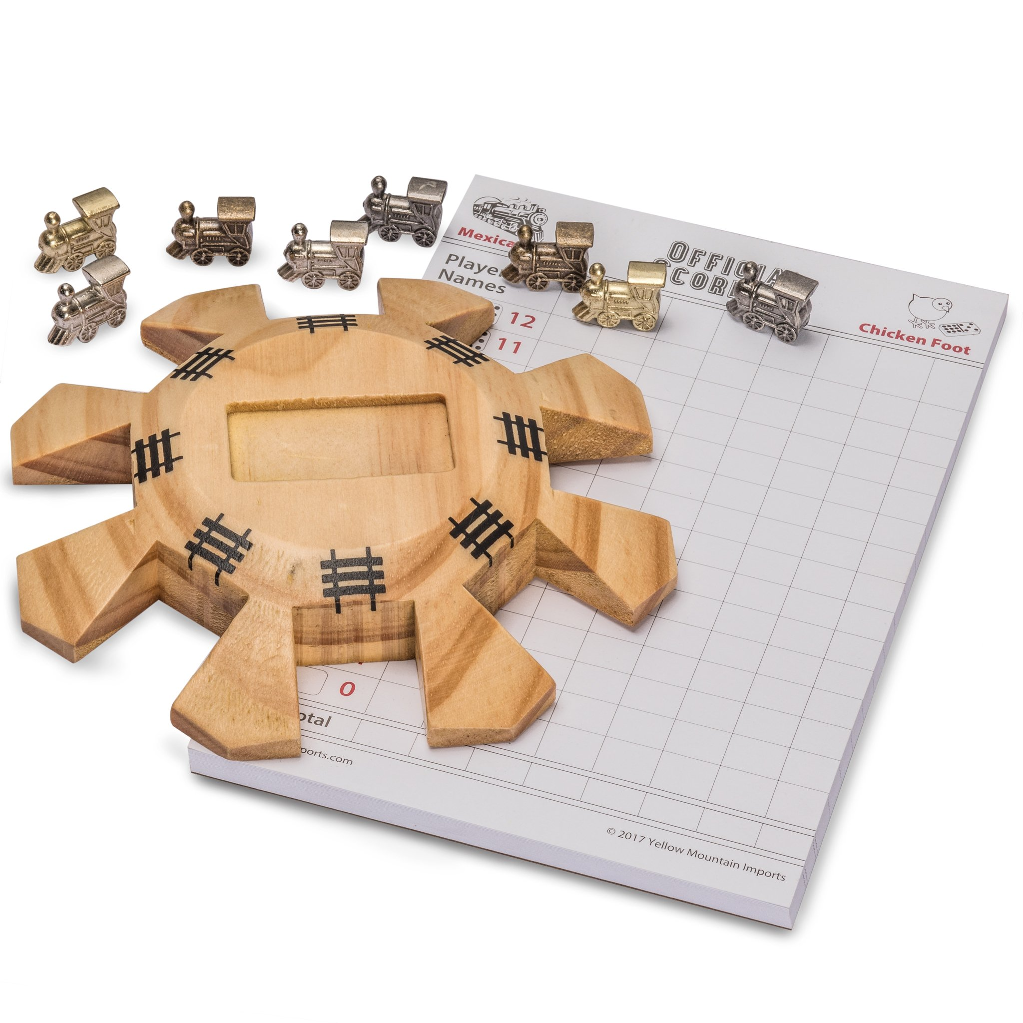 Yellow Mountain Imports Dominoes Accessory Set (Mexican Train Dominoes) - Includes Wooden Hub Centerpiece and Metal Train Markers by Yellow Mountain Imports