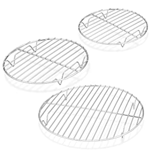 TeamFar Round Cooling Rack - 3 Pack, 7½ & 9 & 10½ Inch, Stainless Steel Round Baking Steaming Rack Set, Fit for Oven/Instant Pot/Air fryer, Healthy & Dishwasher Safe, Mirror Finish & Smooth Edge