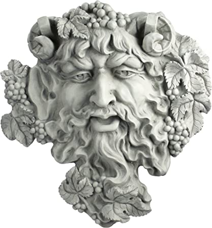 """Ancient Bacchus God of Wine Greenman 19/"""" Handcrafted Wall Sculpture Statue"""