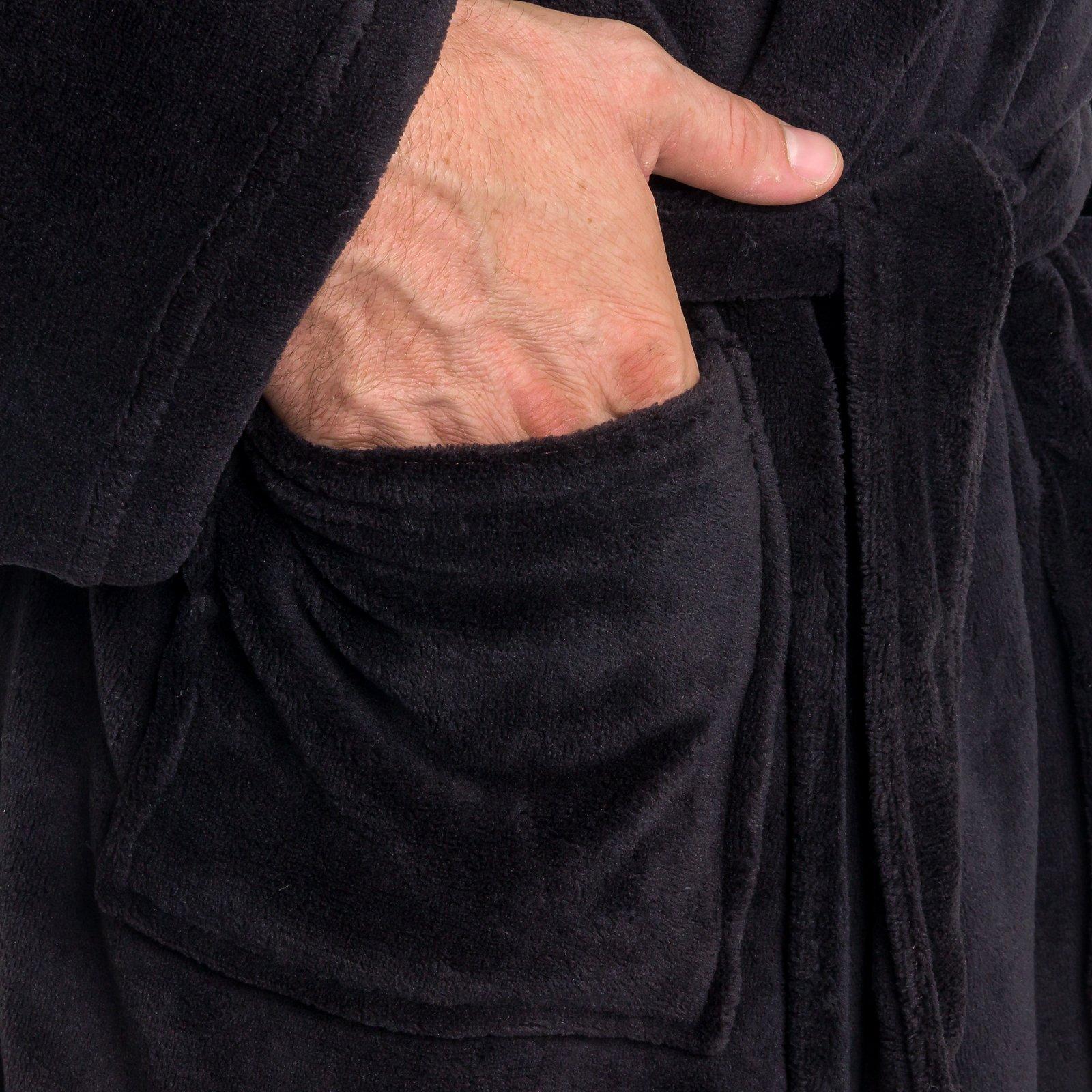 Ross Michaels Mens Hooded Robe - Plush Shawl Kimono Bathrobe (Black, XXL) by Ross Michaels (Image #4)