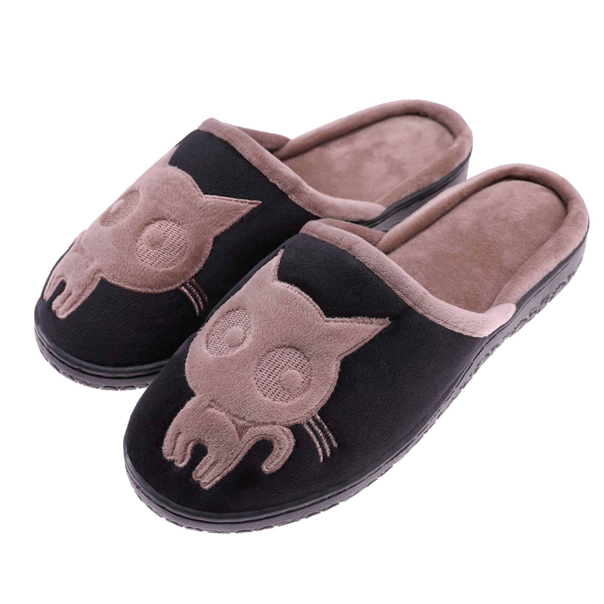 TRUEHAN Womens Cute Cat Plush Animal Winter Warm Bedroom Shoes Non Slip Velvet House Slippers (XL/ 9-10 B(M) US/EU 39-40, Black)