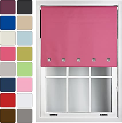 60cm x 165cm FURNISHED Blackout Roller Blind with Square Eyelets Made to Measure Fuchsia