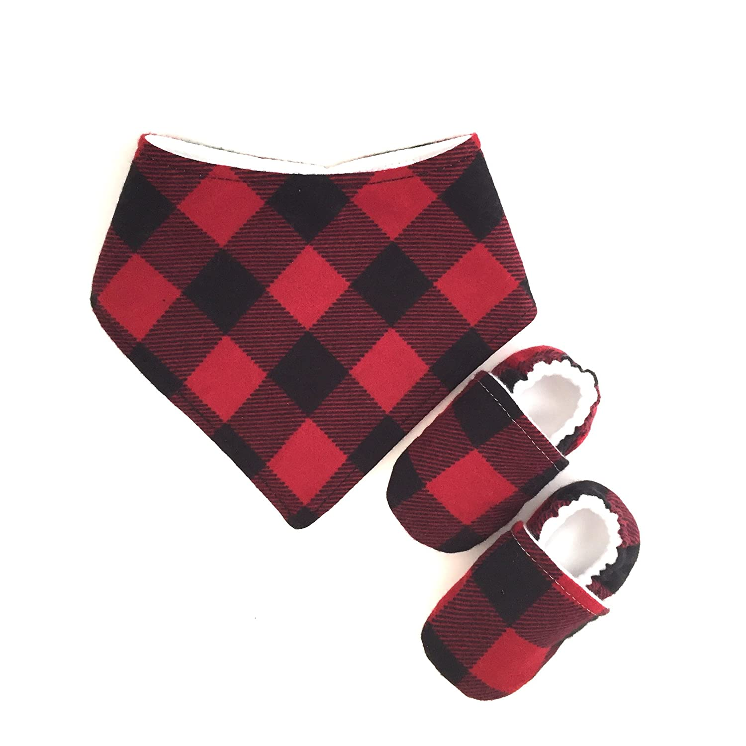 Buffalo Plaid Baby Set, Handmade Baby Gifts, Baby Shower Gift, Handmade in Florida, First Birthday Gift, Baby Shoes and Bib Set, Handmade Baby Gift Set, Gift Idea for Baby, New baby, Newborn Set