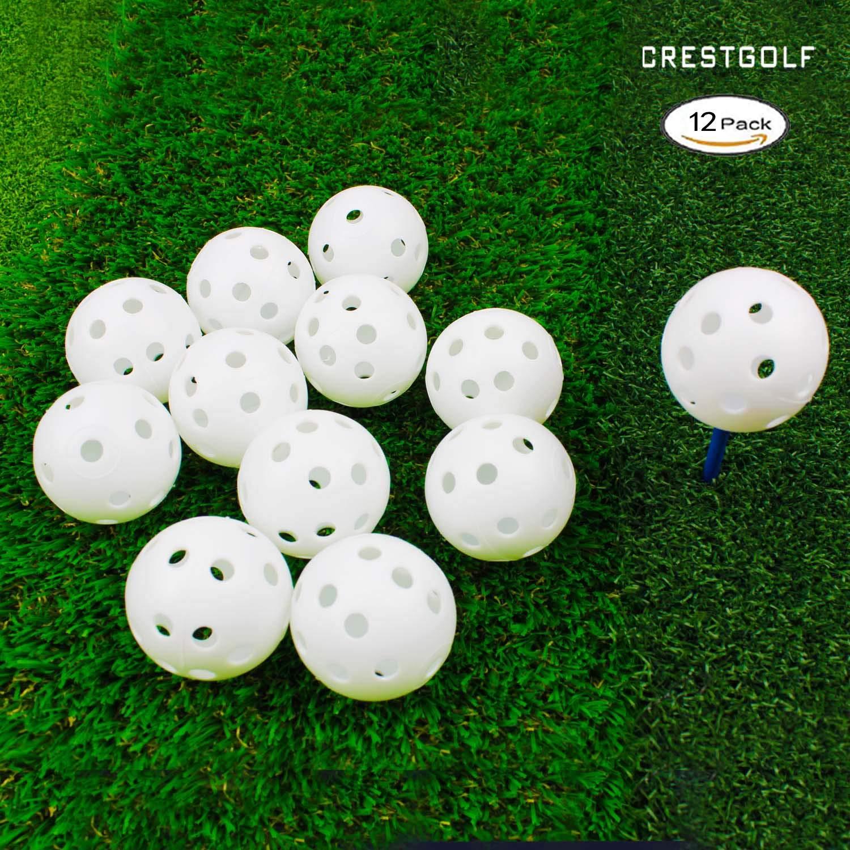 Crestgolf 40mm Plastic Airflow Golf Balls Pack of 12 (white) by Crestgolf