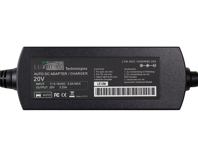 Luxburg/® 65W KFZ Auto Notebook Netzteil Ladeger/ät DC Adapter f/ür Lenovo ThinkPad M30-70 New X1 Carbon S1 Yoga S431 S440 S531 S540 T431s T440 T440P
