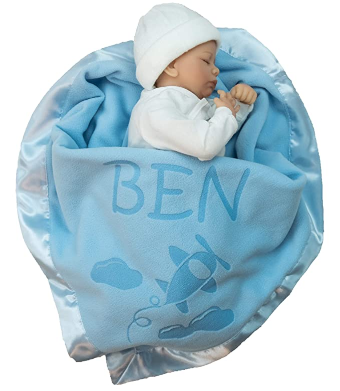 Baby/'s First Christmas tag blanket baby boy gift blue cars trains planes red