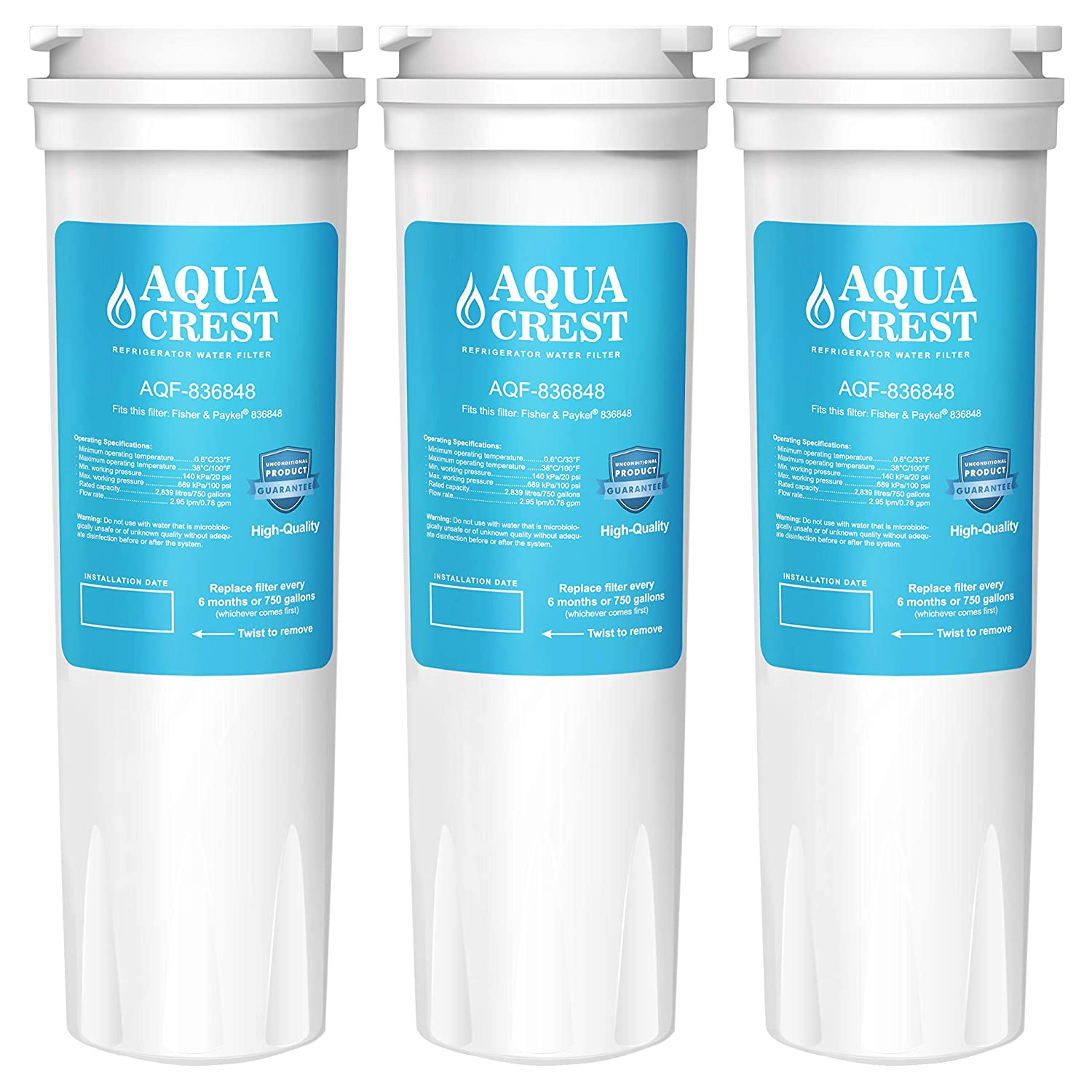 AQUACREST Replacement 836848 Refrigerator Water Filter, Compatible with Fisher & Paykel 836848 836860 E522B PS2067635 RF90A180DU, EFF-6017A, E402B, E442B, SUPCO WF296 (3 Pack)