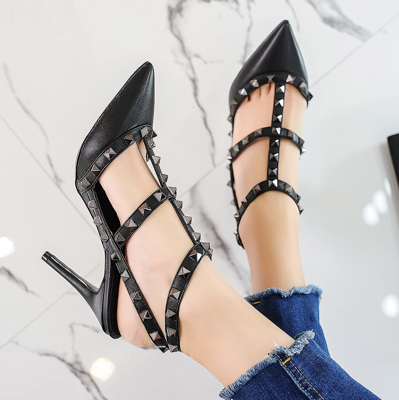 763e65c9409b ... CAMSSOO Womens Classic Studded Strappy Pumps Rivets High Heels Stiletto  Sandals T-Strap Shoes CMTH95A ...