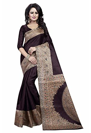 a0bf8c27c4b288 Ishin Women s Art Silk Saree With Blouse Piece  (Swaya-Kalamkaarisilkbrown Brown)  Amazon.in  Clothing   Accessories