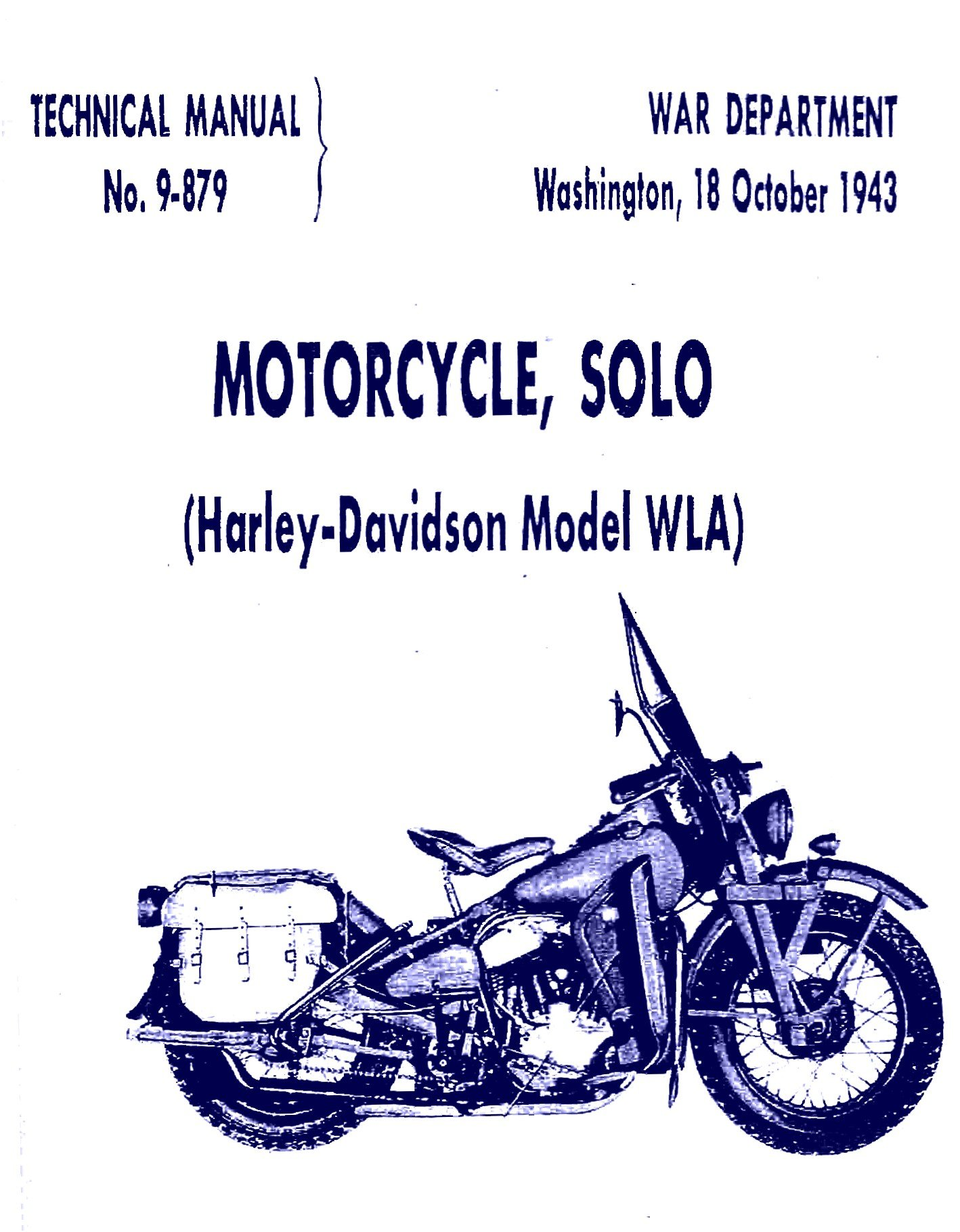 Motorcycle, Solo (Harley Davidson Model WLA)