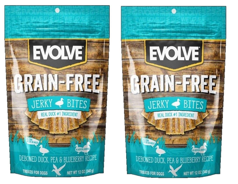 Evolve Grain Free Jerky Bites Duck, Pea, & blueeberry Recipe 2 (12 oz) Pack Bundle