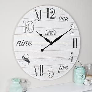 FirsTime & Co. Shiplap Chic Wall Clock, 27
