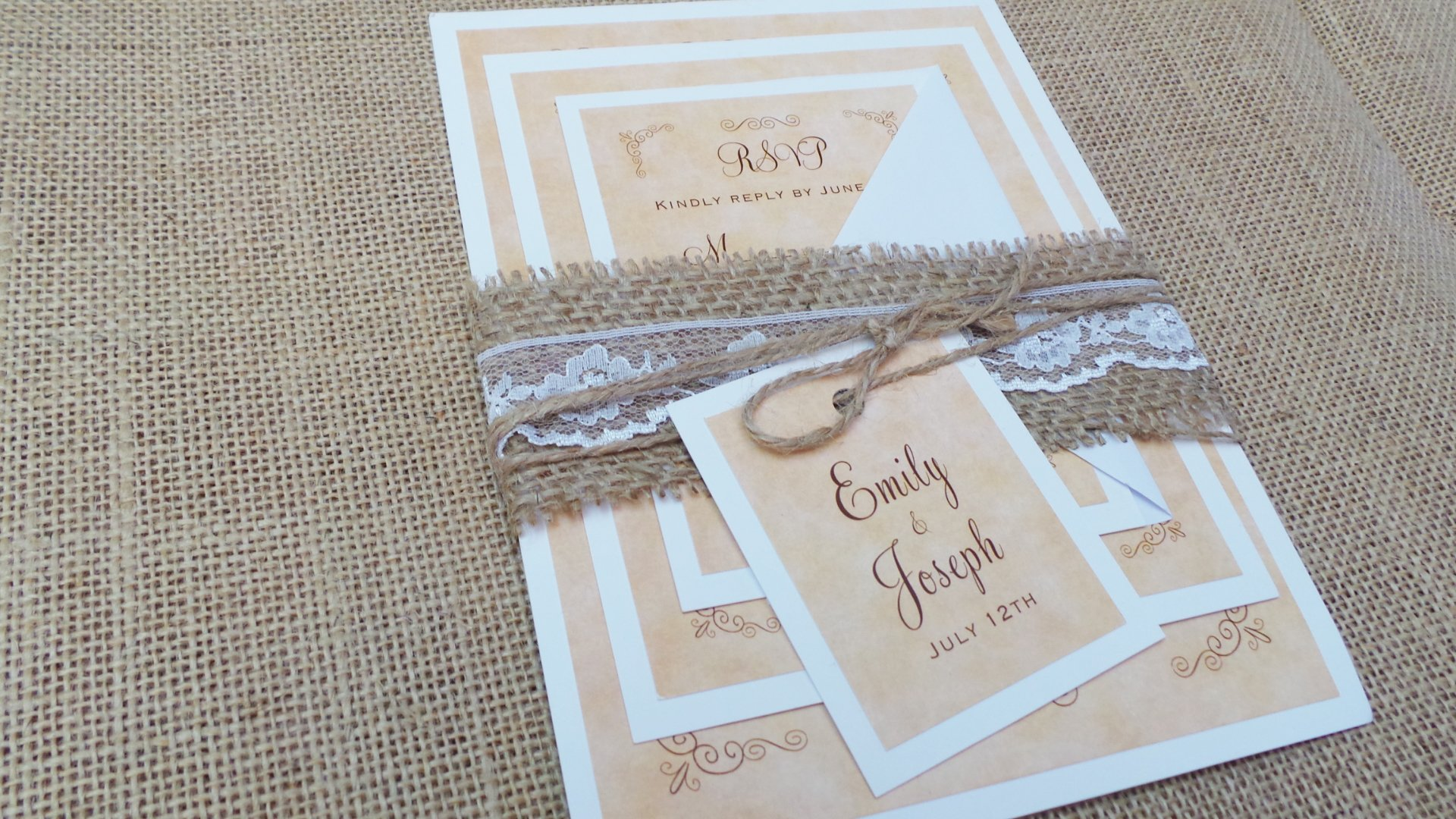 100 Wedding Invitations Rustic Country Vintage Style Twine Burlap Lace + Envelopes + Response Cards Set