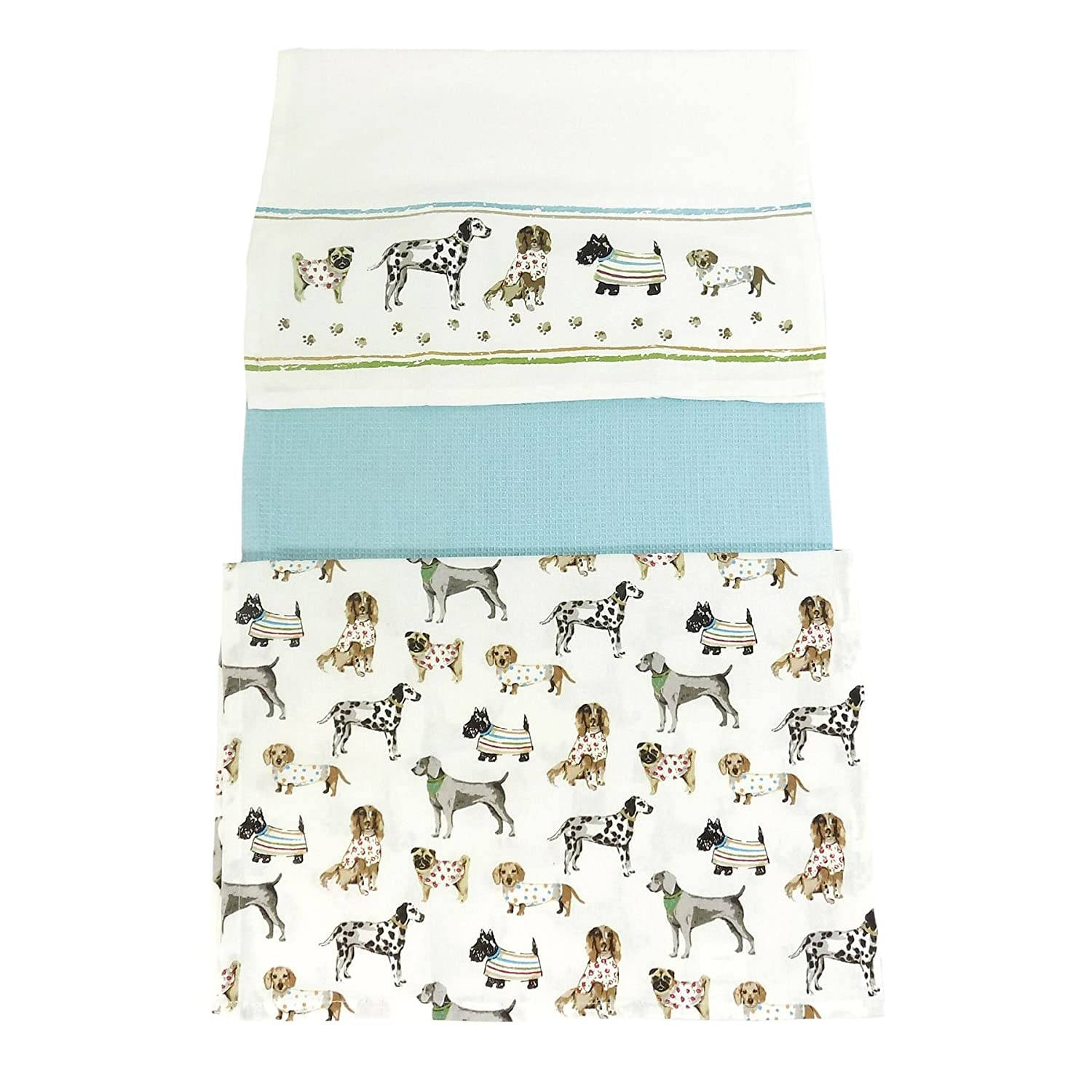 3 X CUTE PUPPY DOG WESTIE PUG DALMATIAN SPANIEL KITCHEN TEA DISH TOWELS 100% COTTON TEA TOWELS UNIQUE