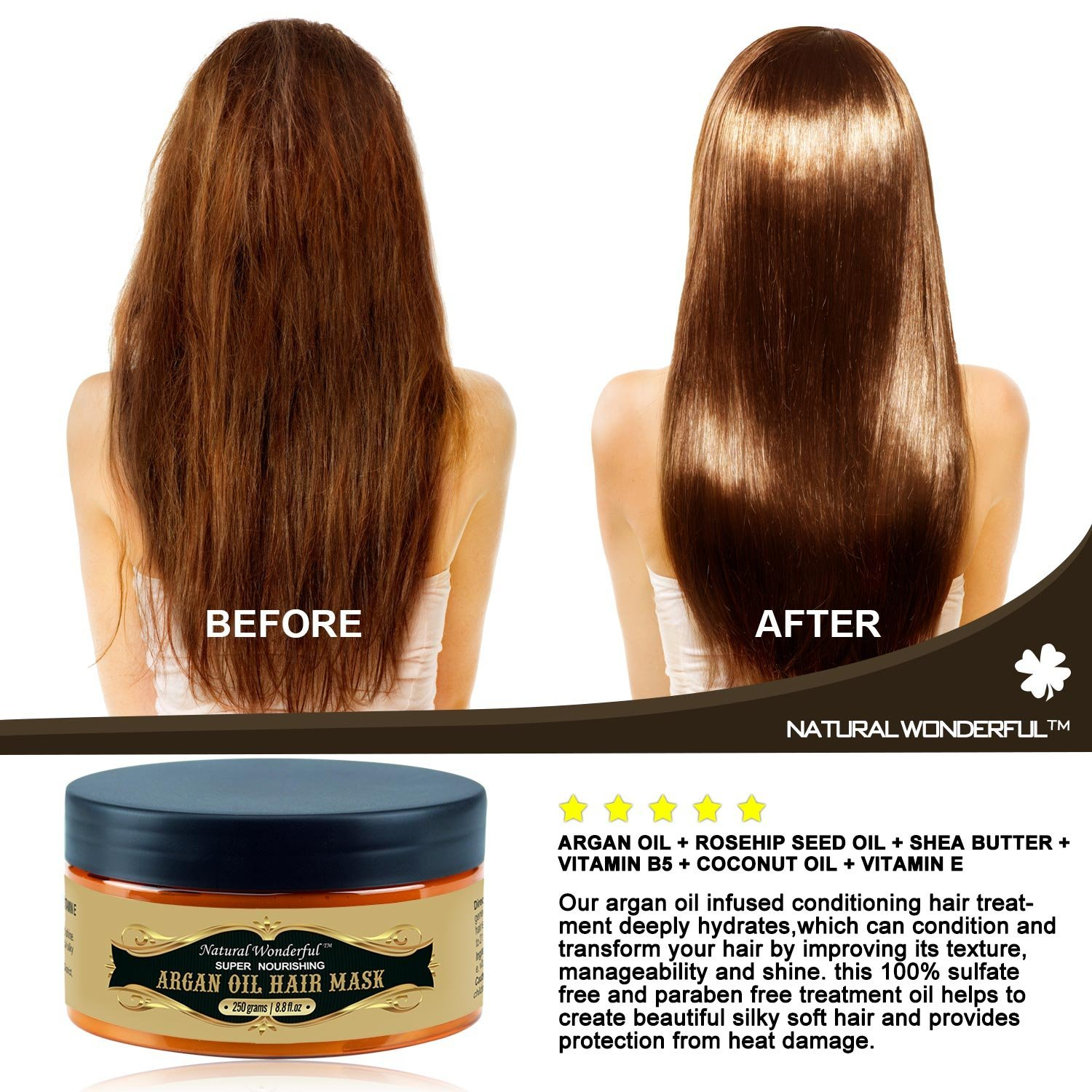 Amazon Natural Wonderful Argan Oil Hair Mask Repair And