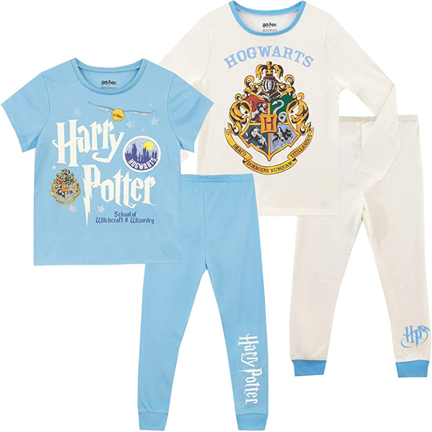 Harry Potter Hogwarts Crest Glitter Print Girls Long OR Short Leg Pyjamas
