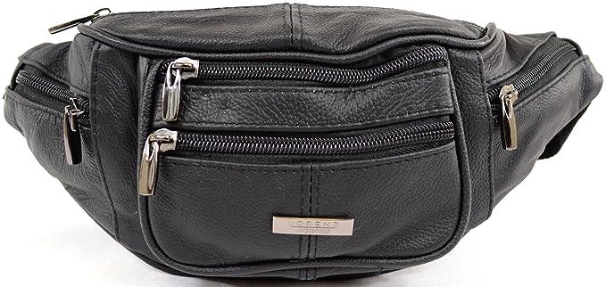 511b84ae336 Mens/Ladies/Womens Leather Bumbag/Waist Bag with Adjustable Waist Strap -  Black