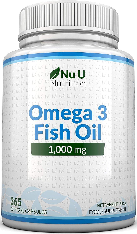 Omega 3   Aceite de Pescado   1000 mg   365 Cápsulas (Suministro Anual)   Complemento alimenticio de Nu U Nutrition