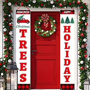 Dazonge Christmas Decorations Outdoor Indoor | Farm Fresh Christmas Tree & Happy Holidays Vertical Signs | Vintage Christmas Porch Door Banners | Farmhouse Winter Holiday Decor