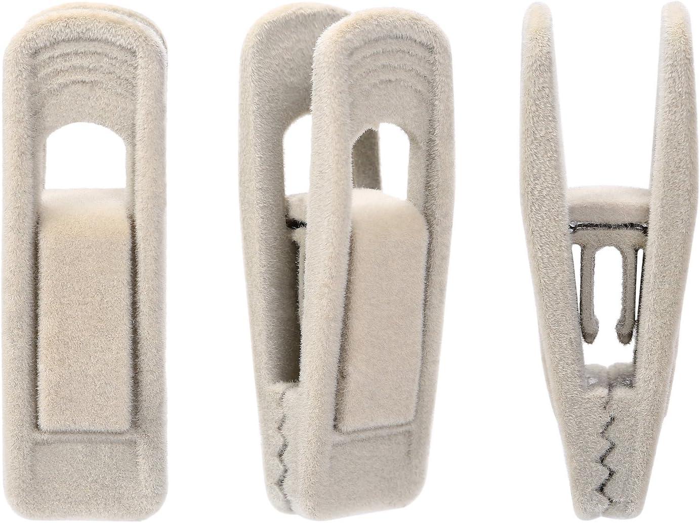 Corodo Velvet Hangers Clips 20 Pack, Ivory Pants Hangers Velvet Clips, Strong Finger Flocked Clips Perfect for Use with Slim-line Clothes Velvet Hangers