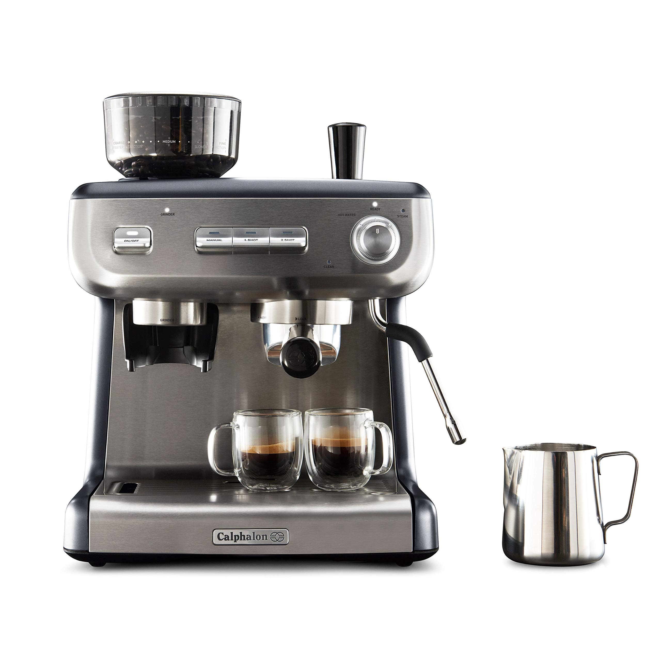 Calphalon BVCLECMPBM1 Temp iQ Espresso Machine with Grinder and Steam Wand, Stainless by Calphalon