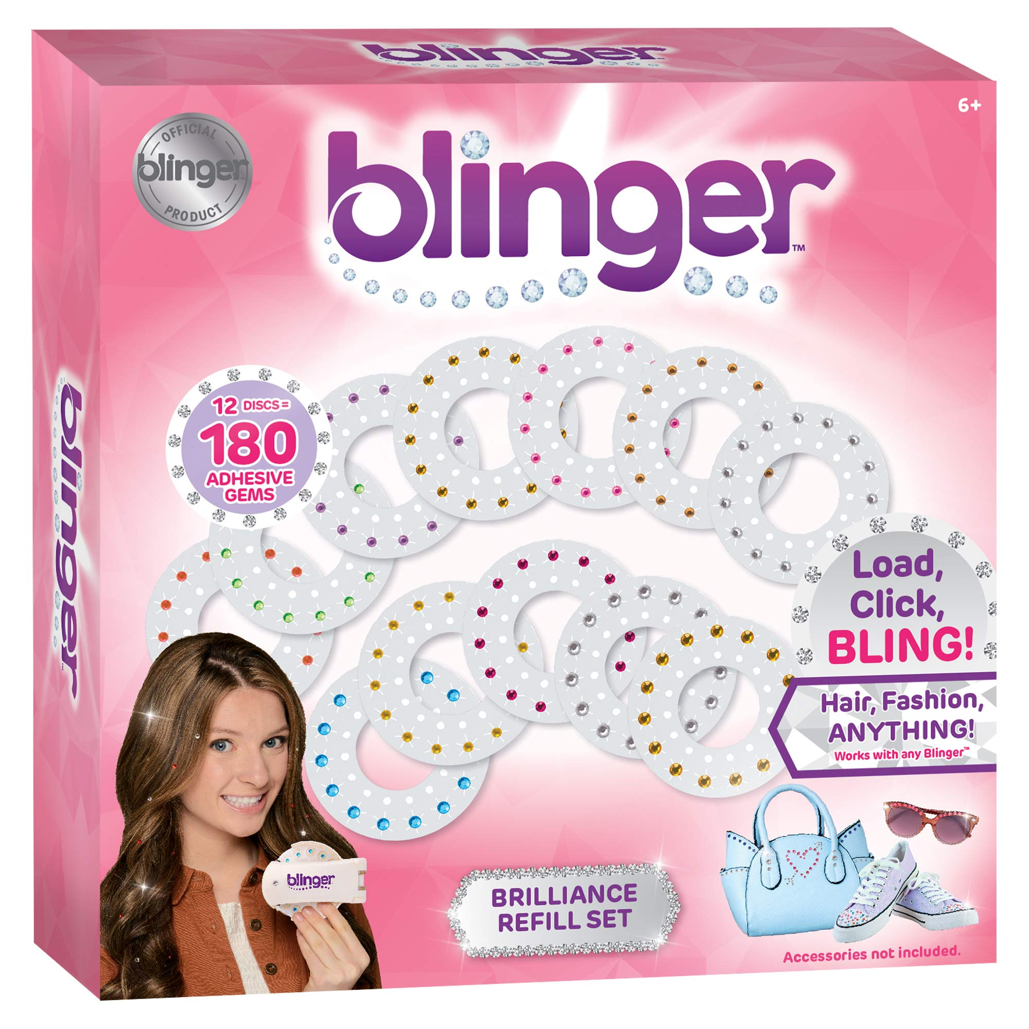 Blinger Brilliance Color Refill Set - Includes 180 Round Gems in a Variety of 11 Colors by Blinger