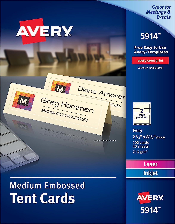 Avery Medium Embossed Ivory Tent Cards Laser Inkjet Printers 2 1 2x8 1 2 Pack Of 100 5914