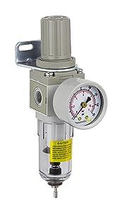 "PneumaticPlus SAW2000M-N02BG Miniature Compressed Air Filter Regulator Combo Piggyback 1/4"" NPT - Poly Bowl, Manual Drain, Bracket, Gauge"