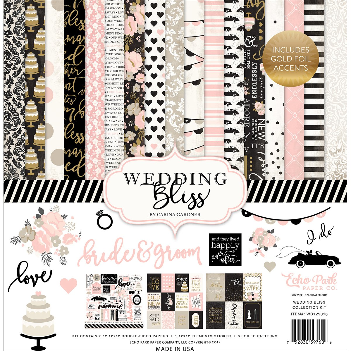 Echo Park Paper Company Wedding Bliss Collection Kit