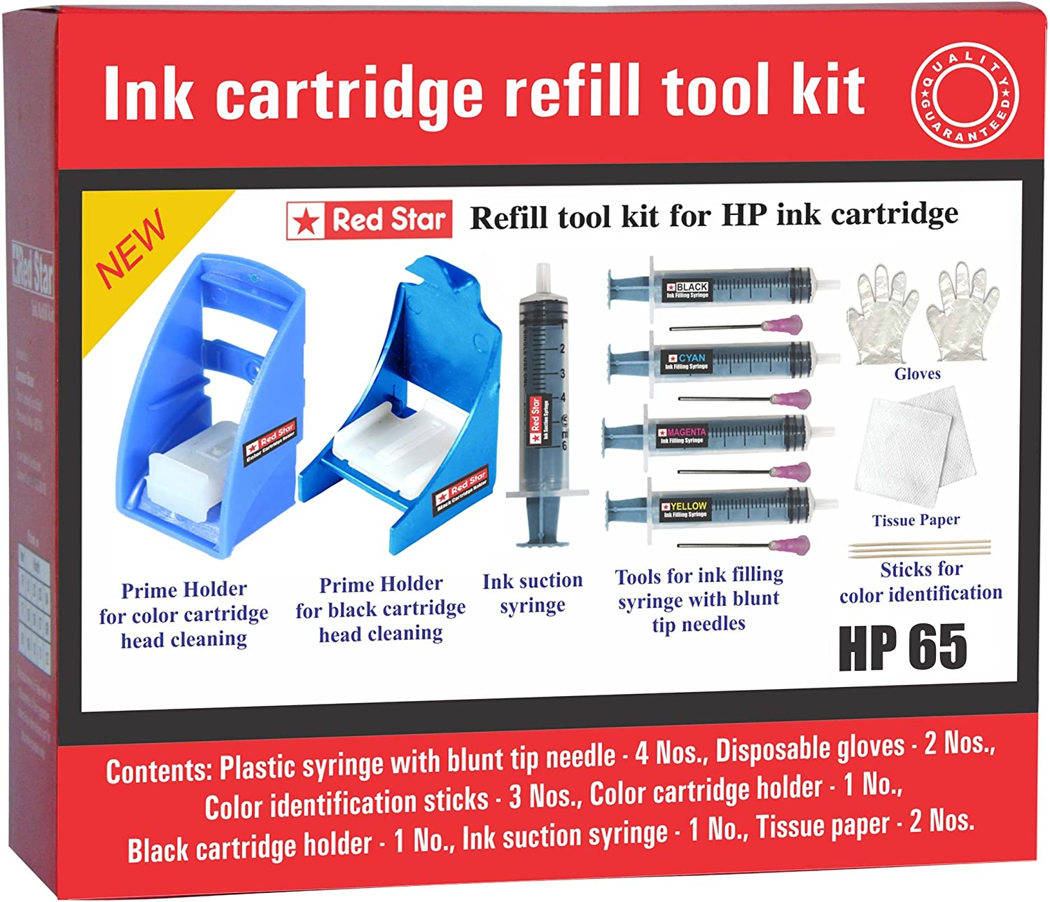 Red Star ink cartridge refill tool kit for hp 65 63 62 61 60 black and color ink cartridge with tools & instructions