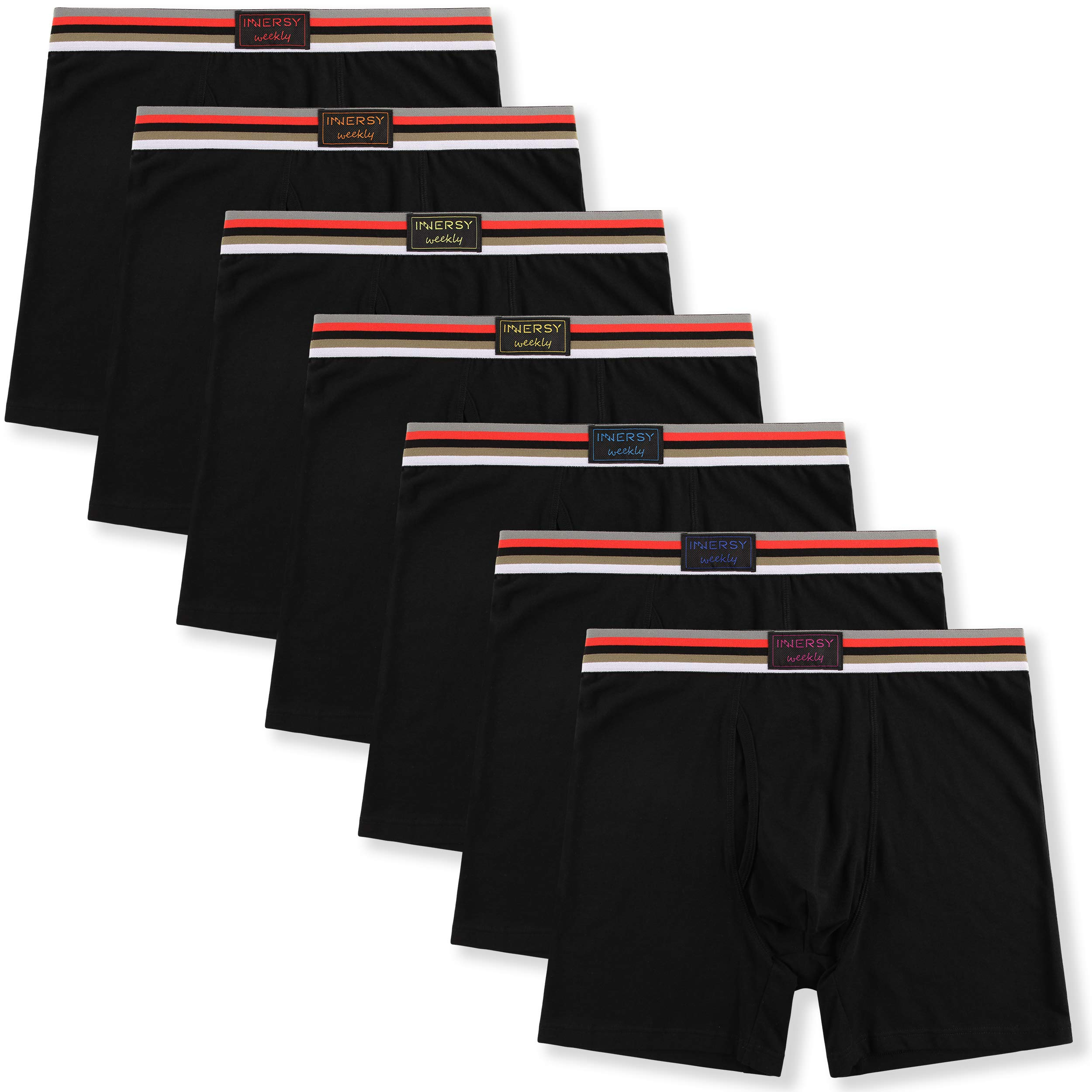 Innersy Men's Cotton Boxer Briefs 7 Pack Rainbow Colorful Stretchy Cotton Underwear for a Week (Medium, 7 Black with Fly)