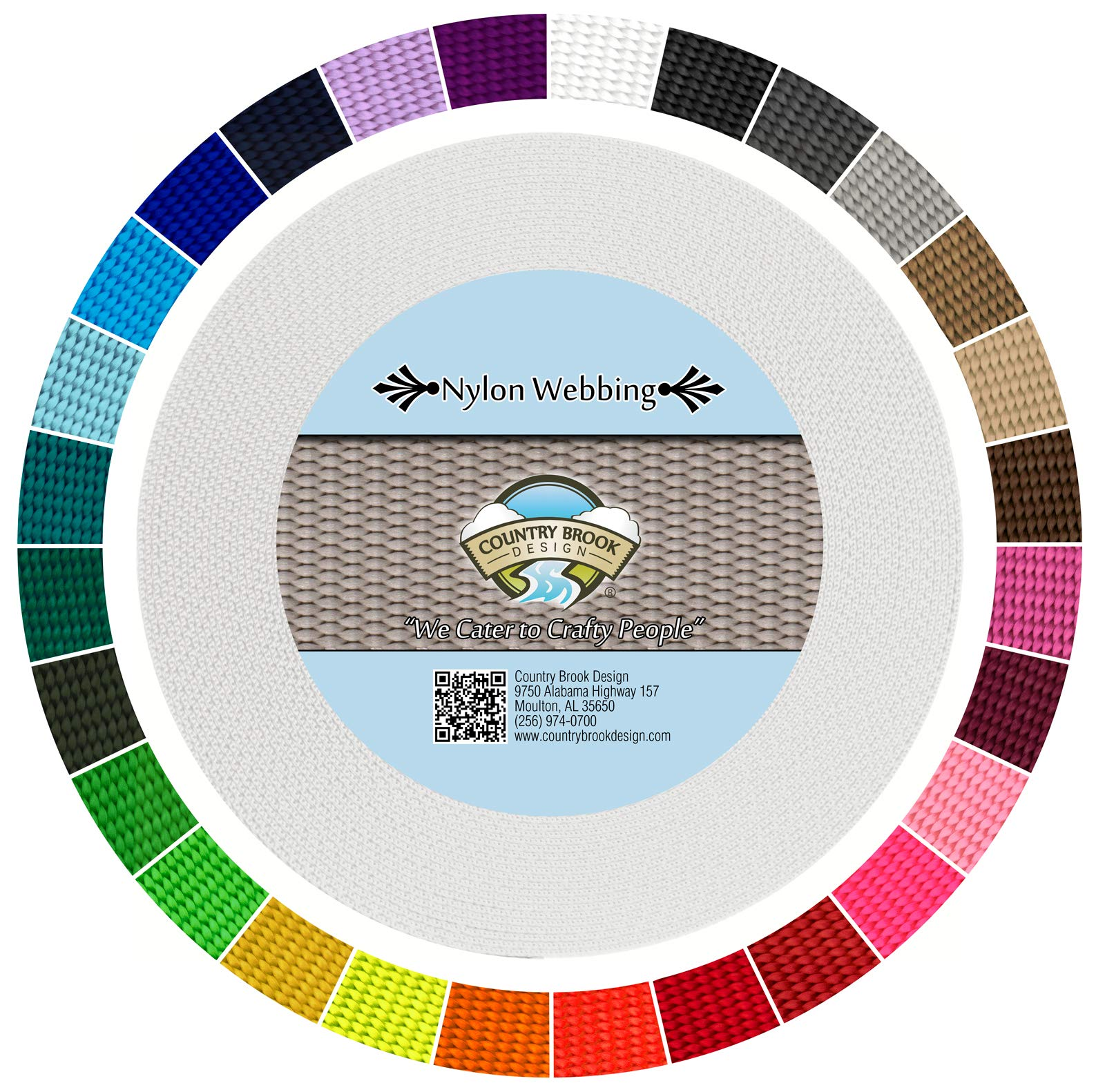 Country Brook Design | Durable 1 Inch Heavy Nylon Webbing | 29 Vibrant Colors (White, 50 Yards) by Country Brook Design