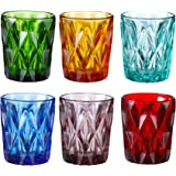 Colored Glass Drinkware 9 Ounce Water Glasses Multi Color Diamond Pattern Set of 6