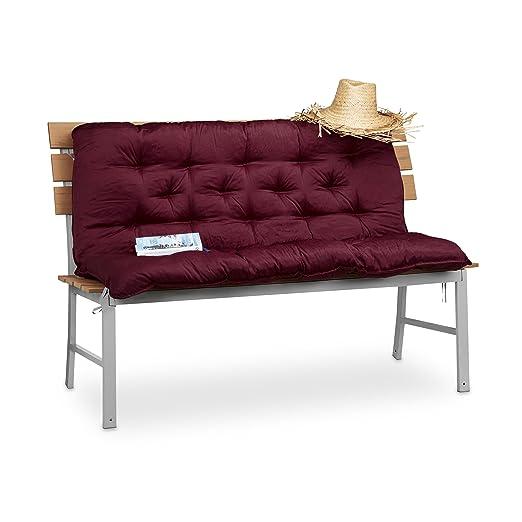 Relaxdays Cojín para Banco de Exterior Grande, Algodón y Poliéster, Rojo, 10x119x96 cm