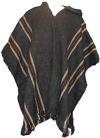 La Cape De Équitable Commerce Woollen Poncho Boliviegris Mens Alpaga Laine TJc51lFKu3