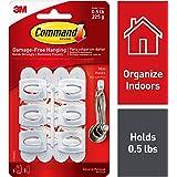 Command 0.5 lb Capacity Mini Hooks, Indoor Use, 6 Hooks, 8 Strips, White (17006-ES)