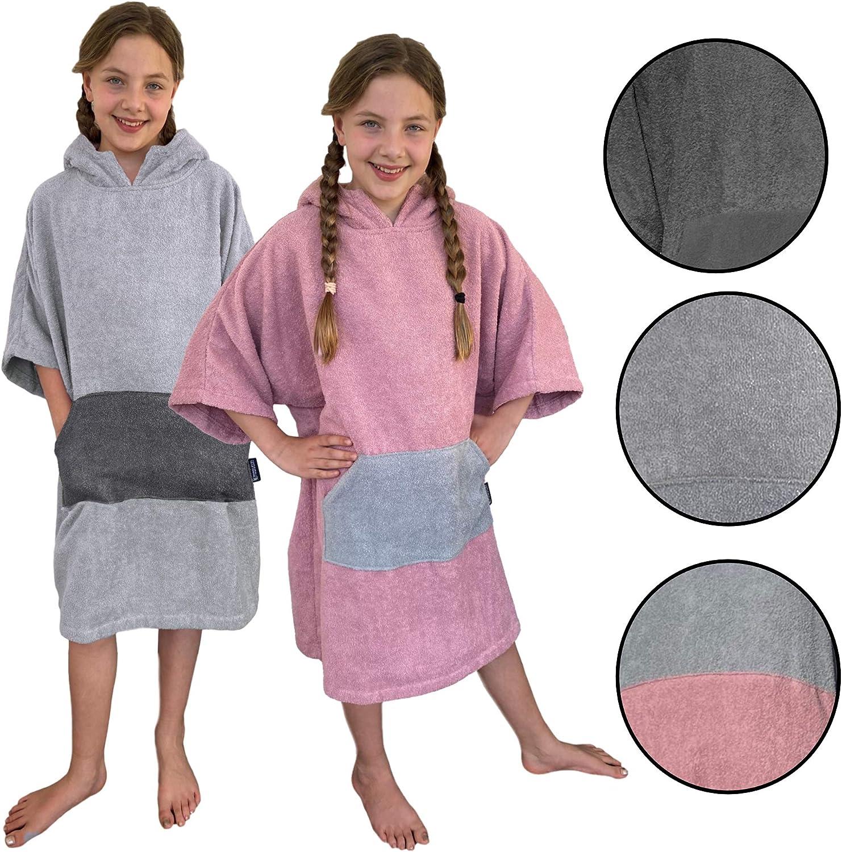 HOMELEVEL Enfants de Surf Poncho de Plage 100/% Coton de Bain de Plage Serviette Cape Velours Serviette /éponge avec Capuchon