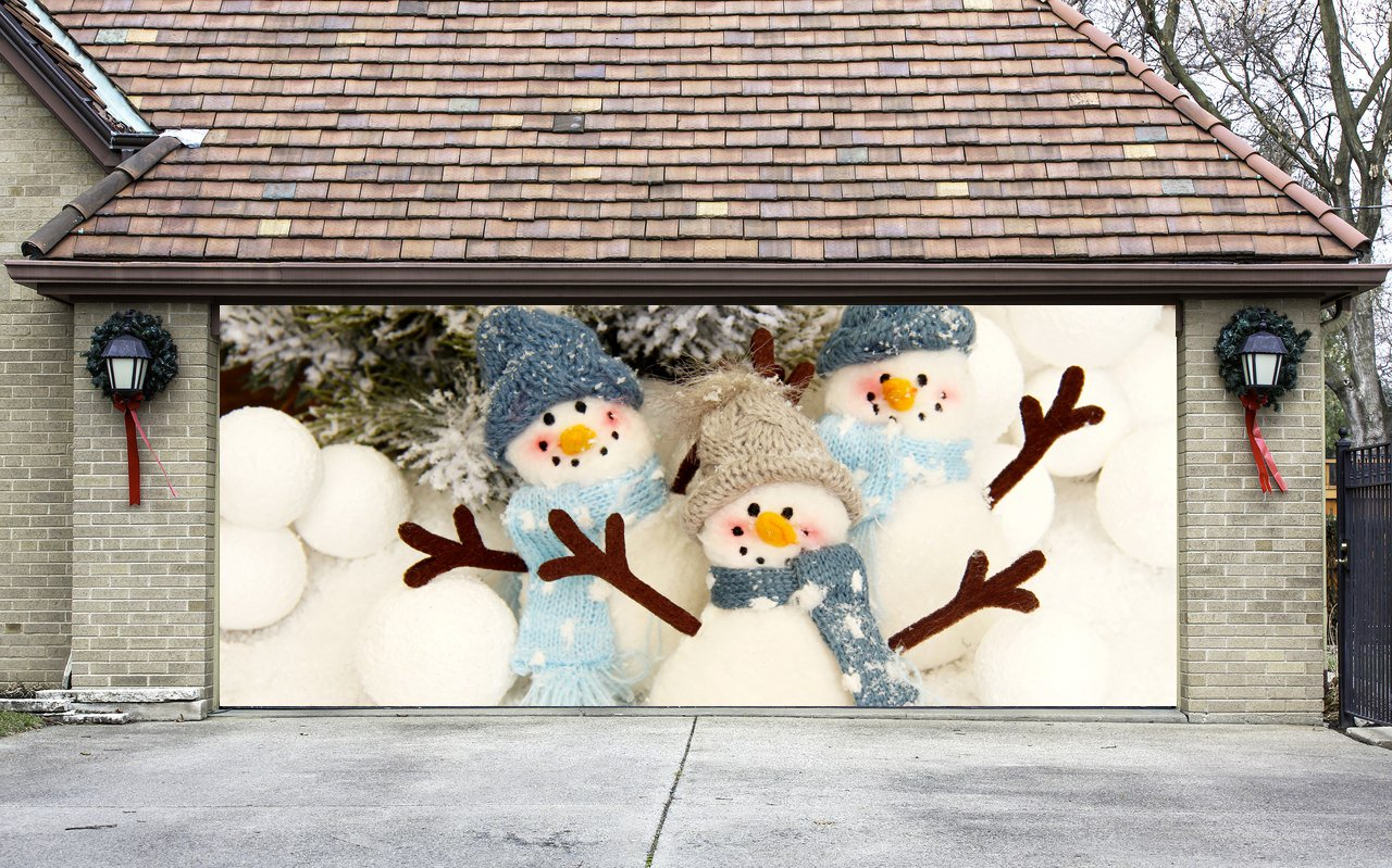 Christmas Garage Door Cover Banners 3d Snowman Holiday Outside Decorations Outdoor Decor for Garage Door G57