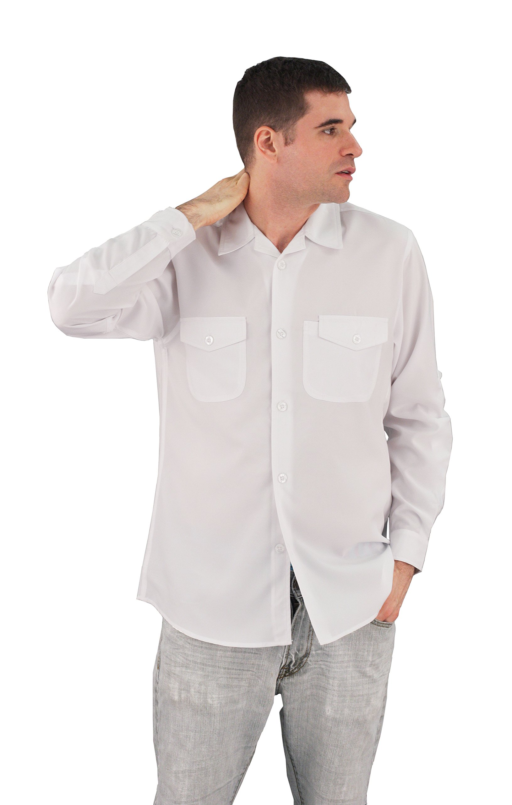 ASD Living Zanzibar Long Sleeve Dry Fit Server Waitstaff Shirt, X-Large, White