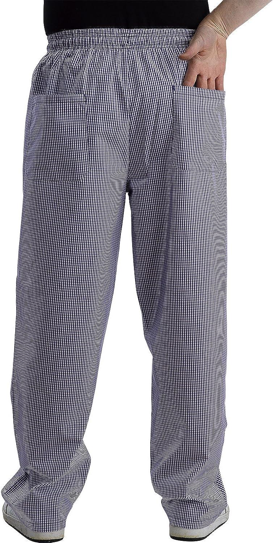 Mens Plain Black Chef Trousers Unisex Elasticated Waist Catering Waiter Pants