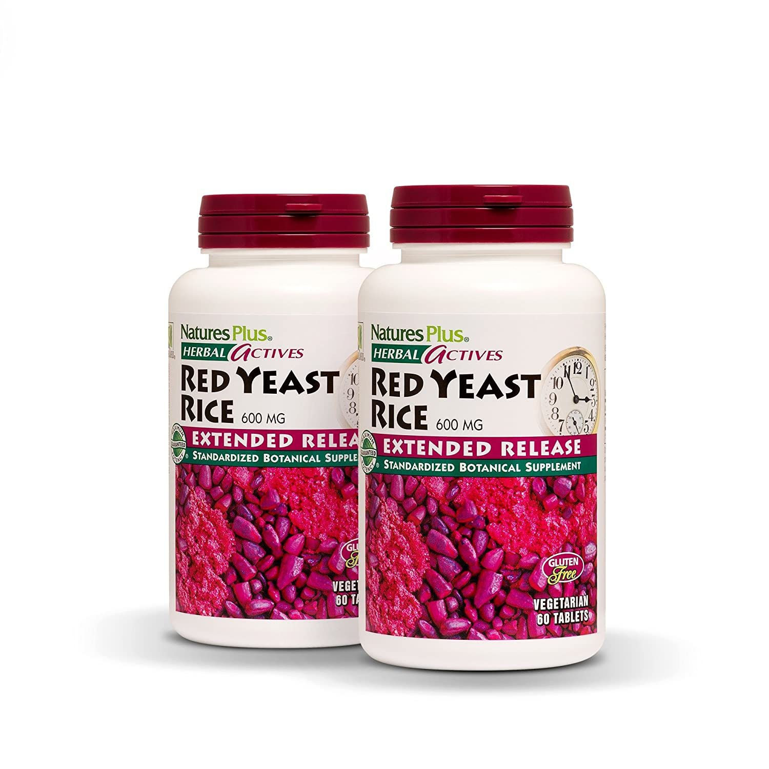 NaturesPlus Herbal Actives Red Yeast Rice, Extended Release 2 Pack – 600mg, 60 Vegan Tablets – Herbal Supplement, Cholesterol Support – Vegetarian, Gluten-Free – 30 Servings