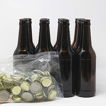 Set Botellas y chapas para elaborar cerveza en casa | El complemento perfecto | Envasa el mosto para la fermentación en botella