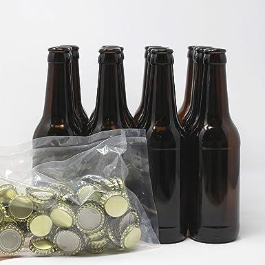 Set Botellas y chapas para elaborar cerveza en casa | El complemento perfecto | Envasa el mosto para la fermentación en botella: Amazon.es: Alimentación y bebidas