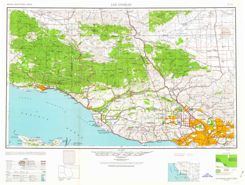 Amazon.com : YellowMaps Los Angeles CA topo map, 1:250000 ...